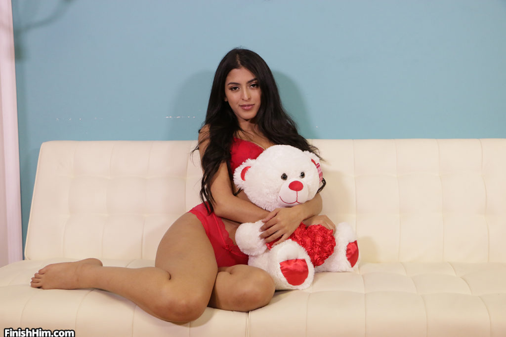 Model Sophia Leone with teddy bear